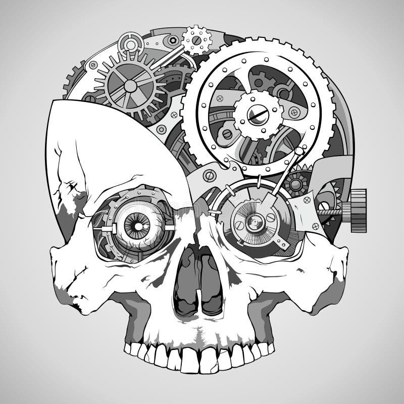 Череп Clockwork иллюстрация вектора