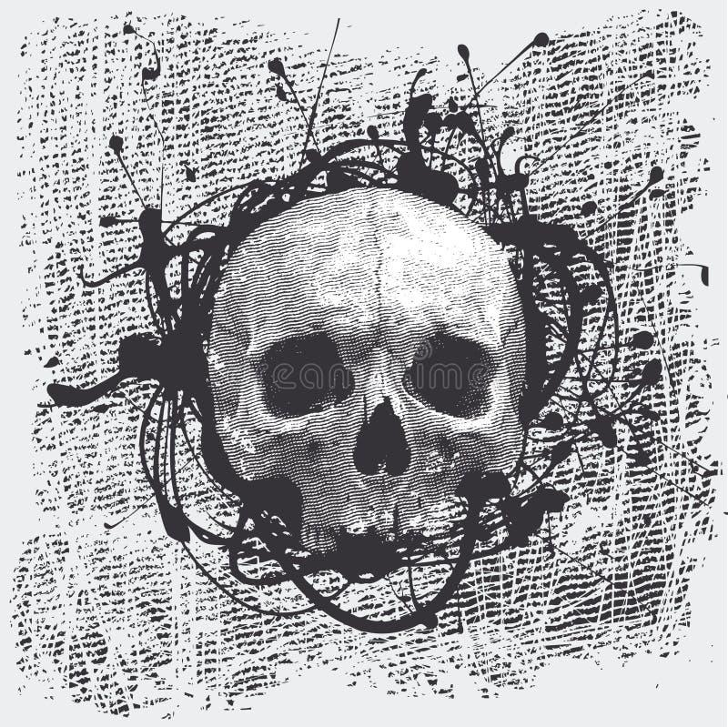 череп halftone предпосылки иллюстрация вектора