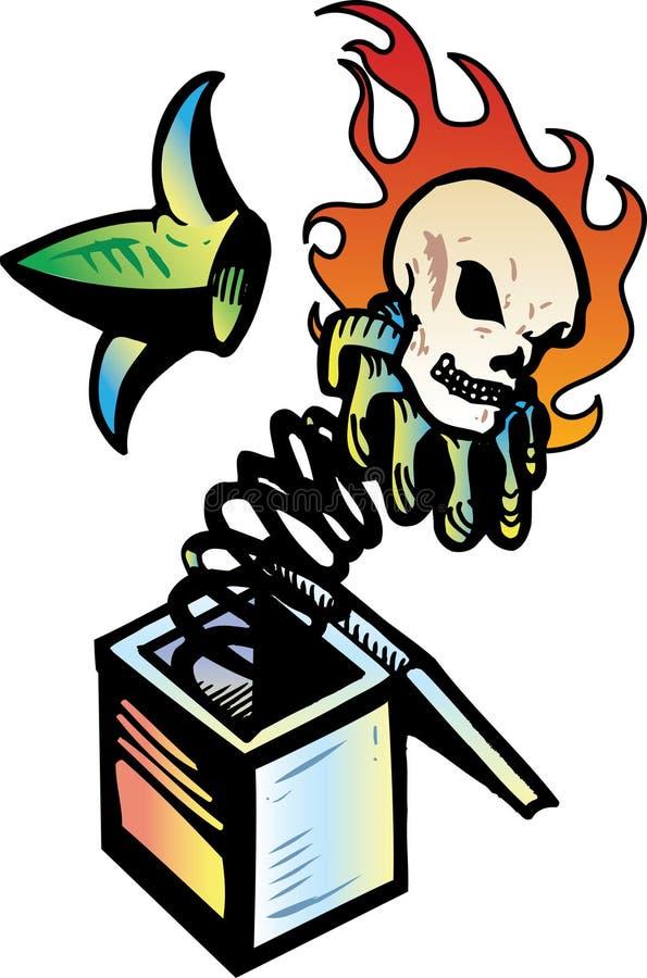 Download череп Jack коробки пламенеющий Иллюстрация вектора - иллюстрации насчитывающей шлем, jack: 6866302