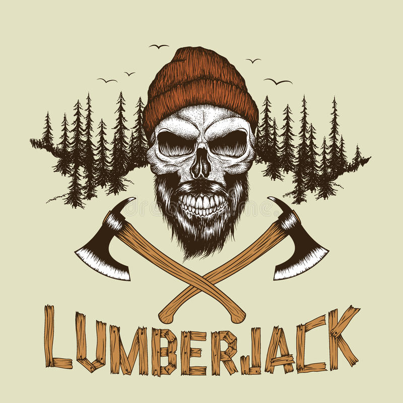 Череп-lumberjack с бородой, шляпой и 2 осями иллюстрация штока