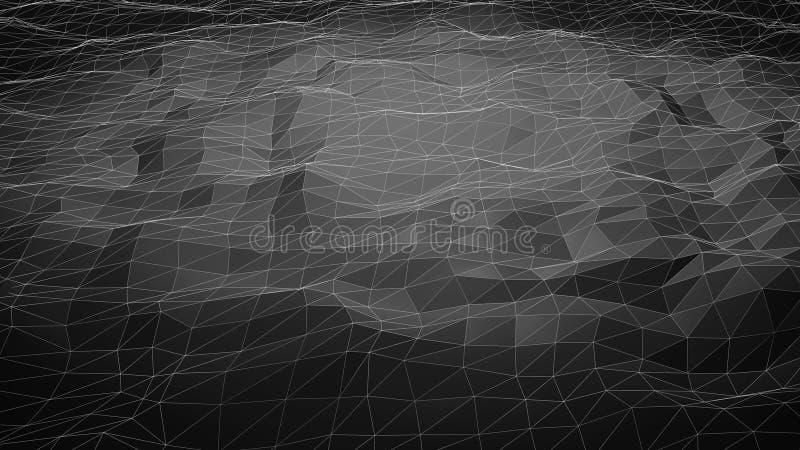 Черная абстрактная полигональная предпосылка с линиями wireframe иллюстрация штока