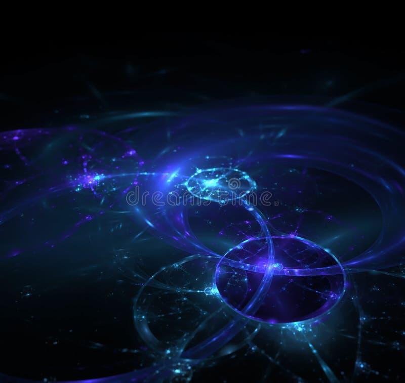 Черная абстрактная предпосылка, текстура фрактали Фиолетовое кольцо p энергии бесплатная иллюстрация