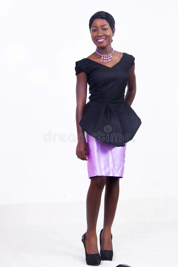 Черная Афро-американская дама стоковое изображение rf
