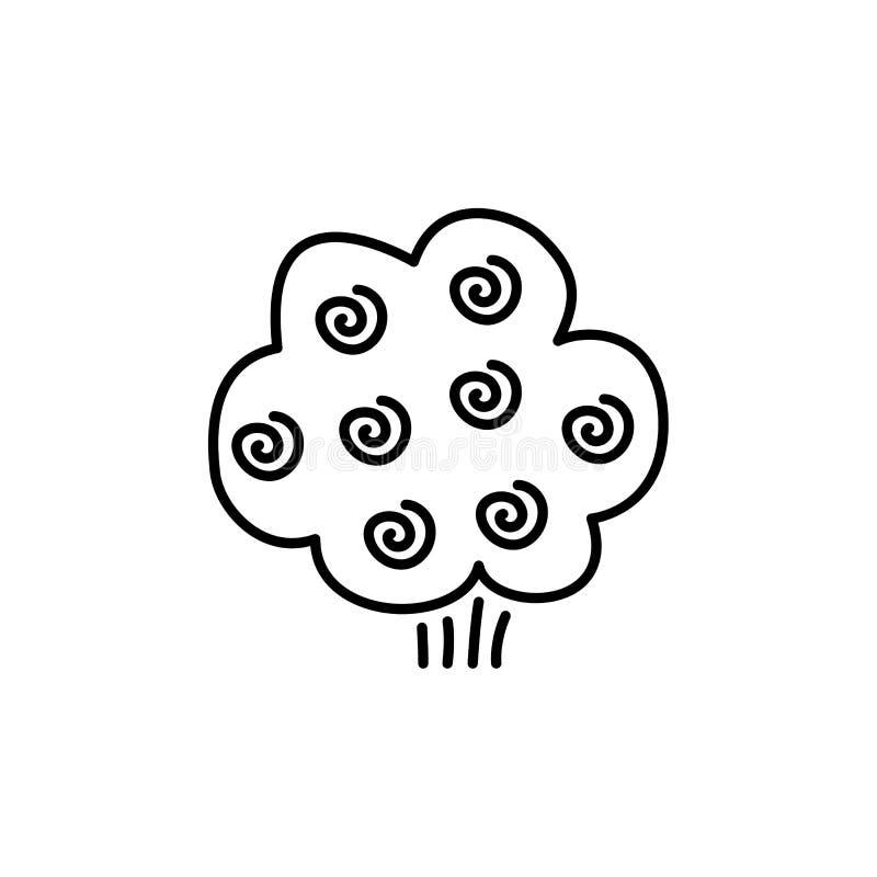 Черная & белая иллюстрация вектора зацветая розового кустарника линия i иллюстрация вектора