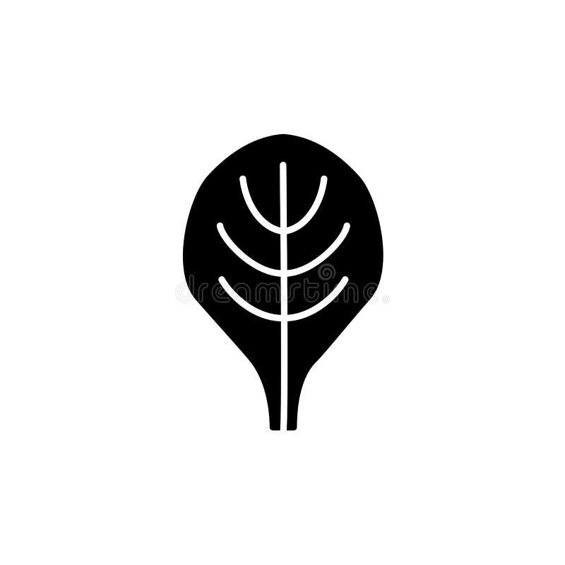 Черная & белая иллюстрация вектора овоща лист шпината fla иллюстрация вектора