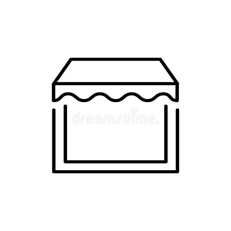 Черная & белая иллюстрация вектора тента тени солнца Линия значок сени окна Изолированный предмет бесплатная иллюстрация