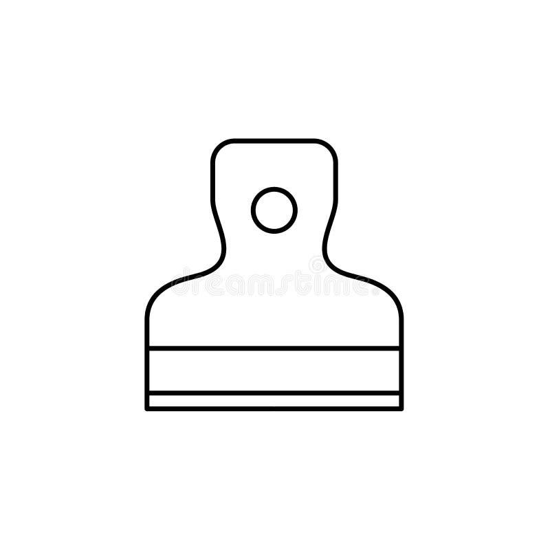 Черная & белая иллюстрация вектора шпателя Линия значок руки иллюстрация вектора