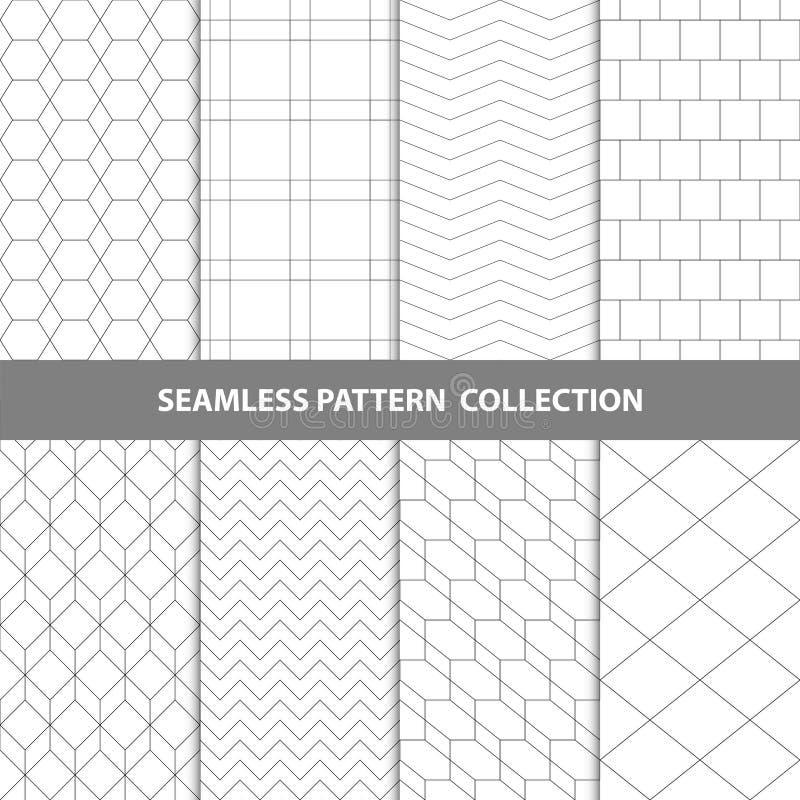 Черная белая классическая линия собрание дизайна картины конспекта вектора зигзага геометрическое безшовное бесплатная иллюстрация