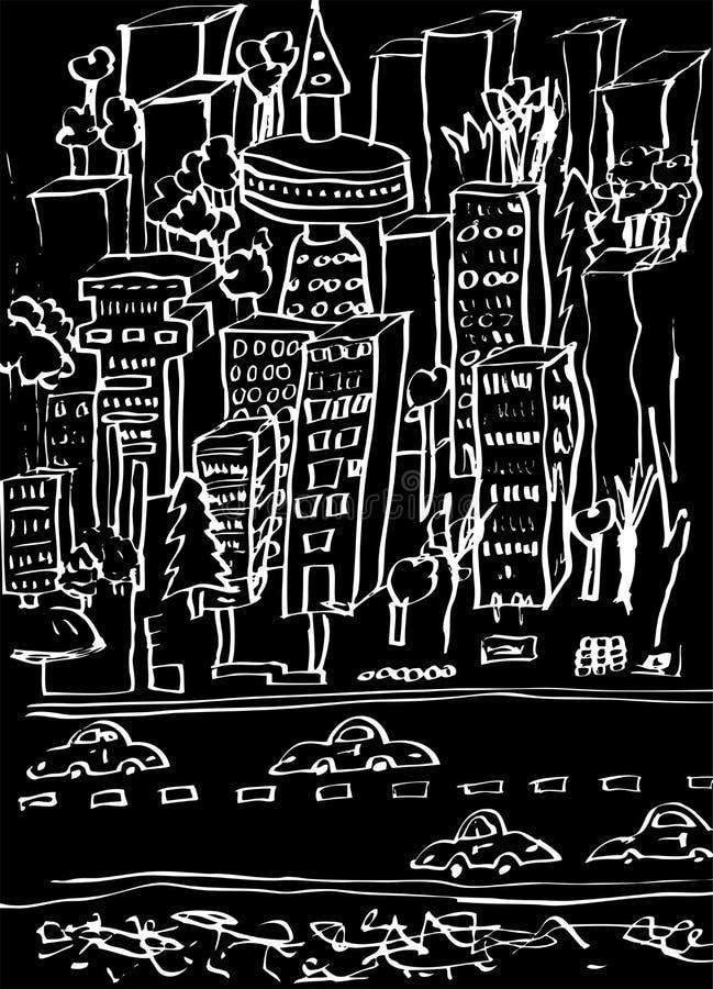 черная белизна города шаржа иллюстрация штока