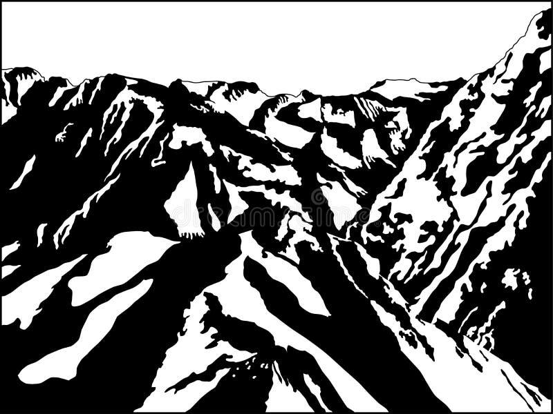 черная белизна горы иллюстрация вектора