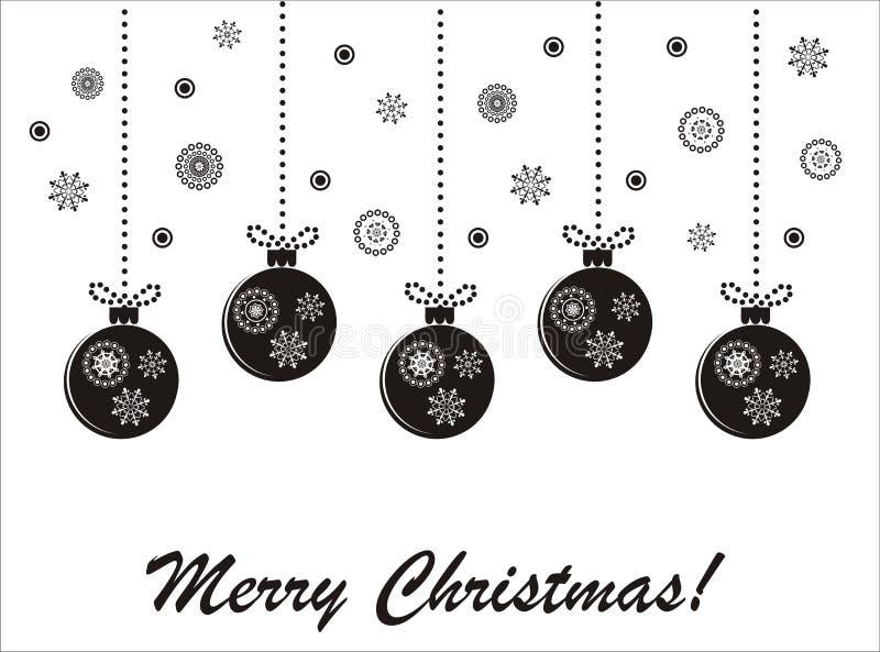 черная белизна праздника рождества карточки иллюстрация штока