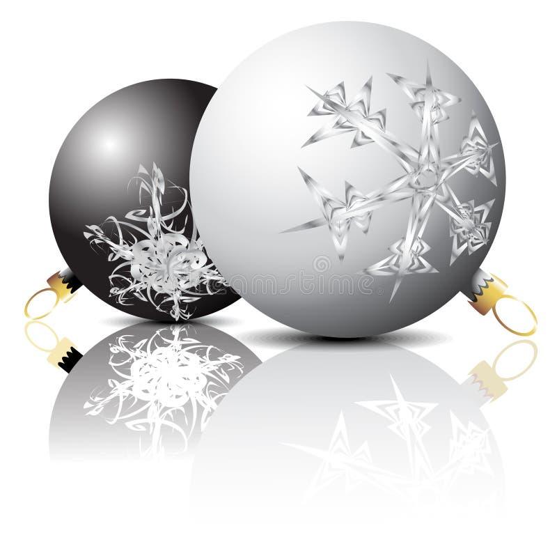 черная белизна рождества шариков бесплатная иллюстрация