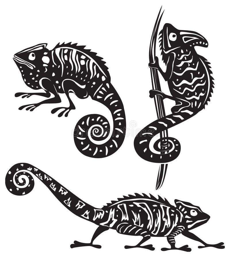 черная белизна хамелеона бесплатная иллюстрация