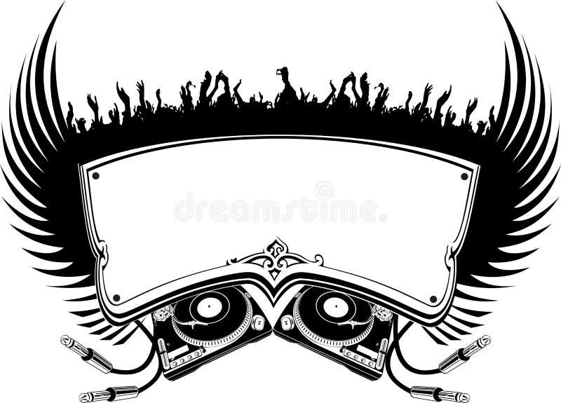 черная белизна flayer dj иллюстрация штока