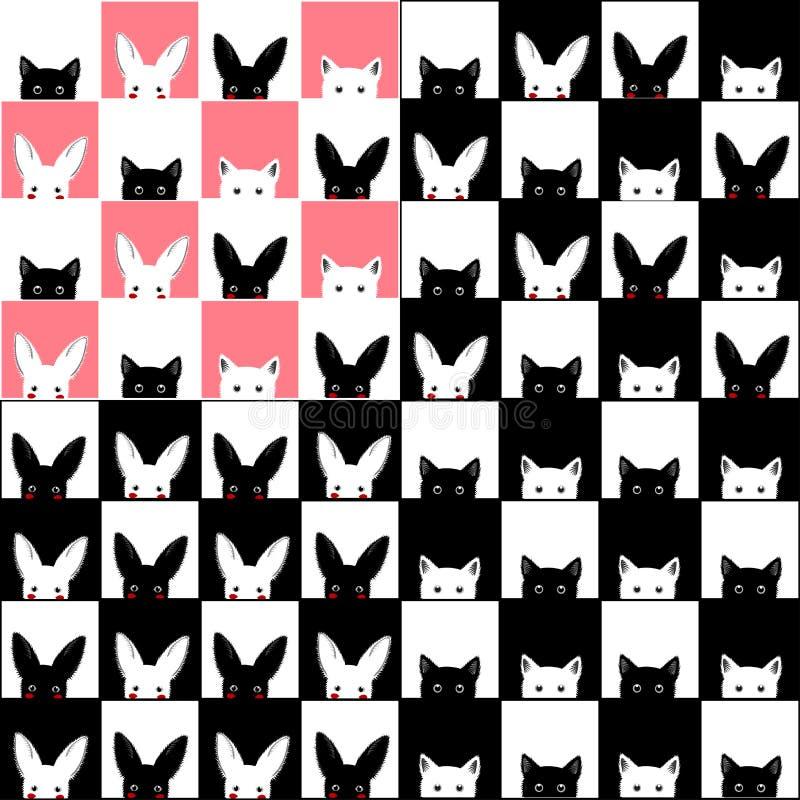 Черная белая розовая предпосылка шахматной доски кролика кота иллюстрация штока