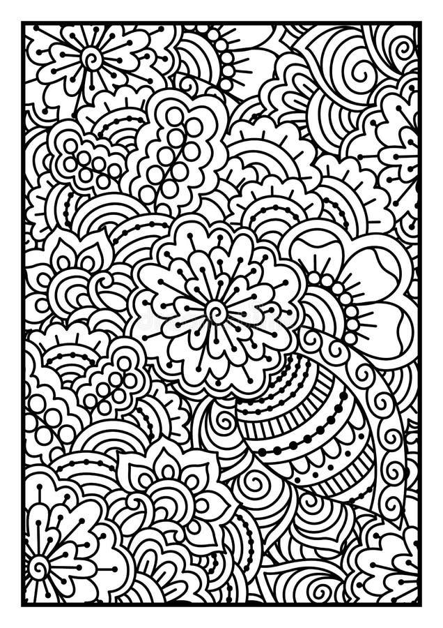 черная белизна картины Этнической предпосылка хны нарисованная рукой иллюстрация вектора