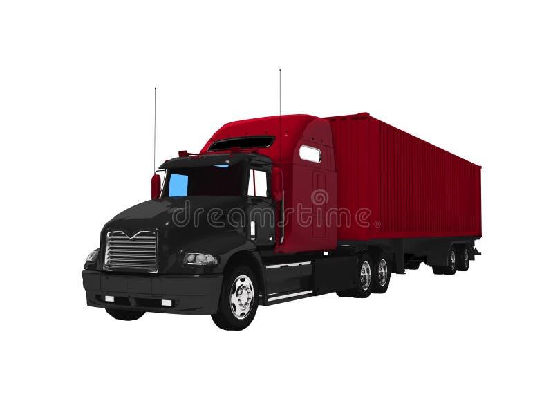 Черная большая тележка с красным трейлером 3d не представить на белой предпосылке никакую тень иллюстрация вектора