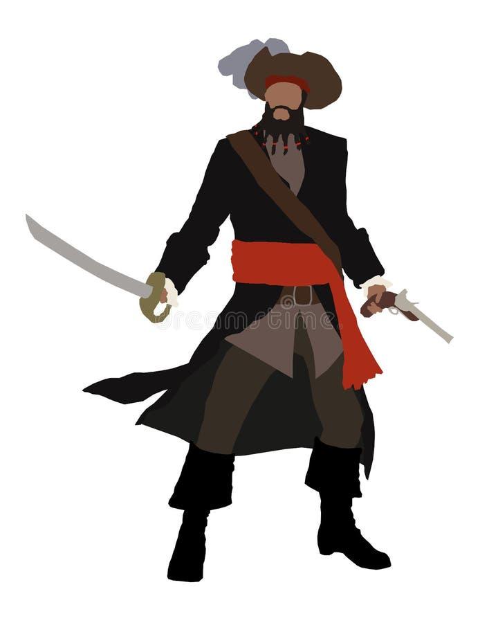 Черная борода, капитан пирата стоковые изображения rf