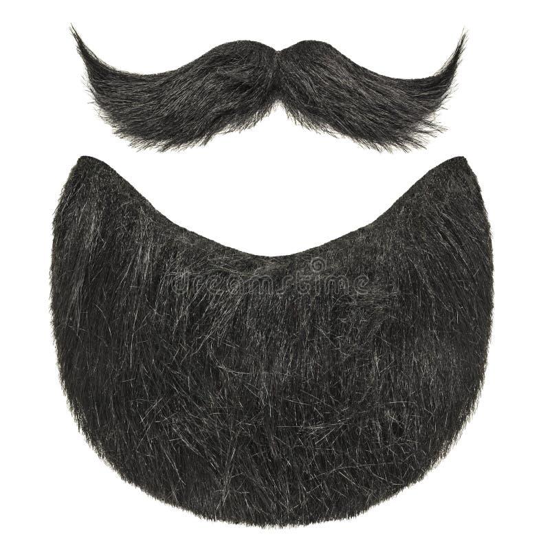 Черная борода при курчавый усик изолированный на белизне стоковое изображение