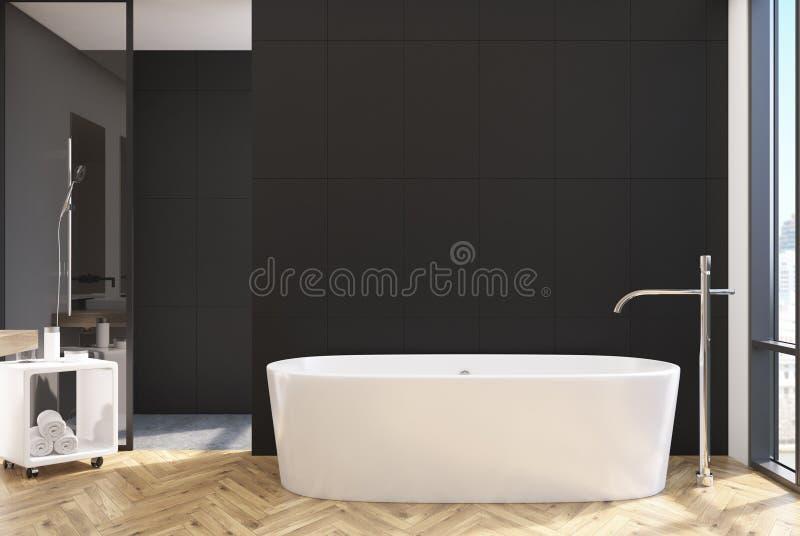 Черная ванная комната, круглый ушат бесплатная иллюстрация