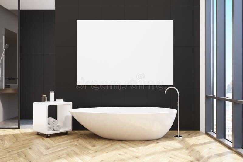 Черная ванная комната, уникально ушат, плакат иллюстрация штока