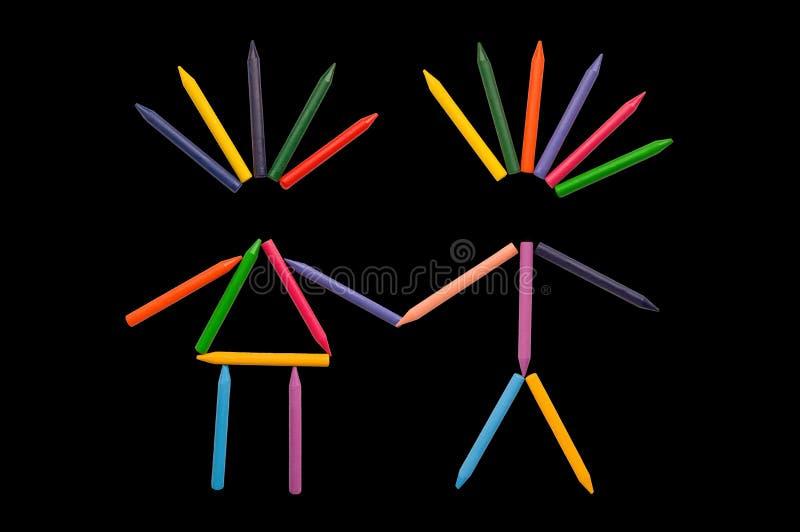 черная влюбленность crayons стоковые изображения