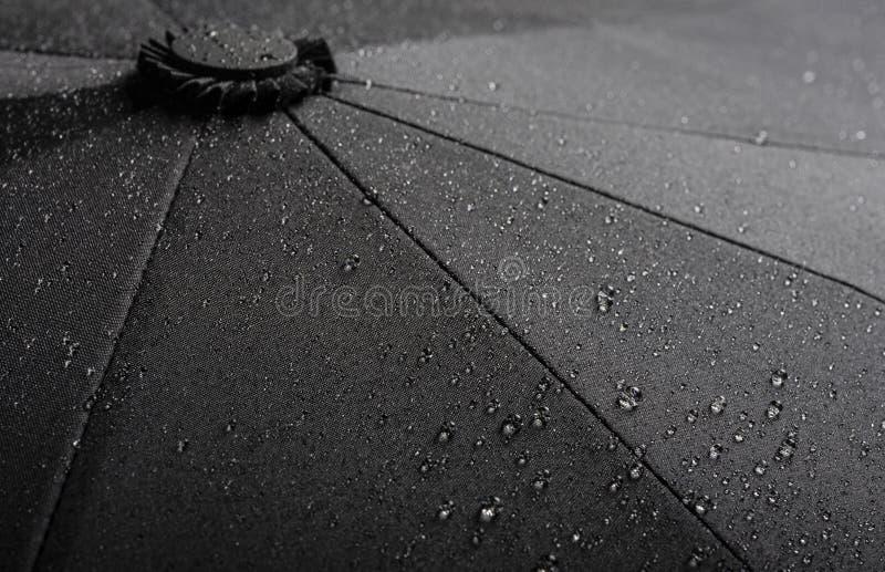Черная водоустойчивая текстура зонтика с капельками воды стоковые фотографии rf