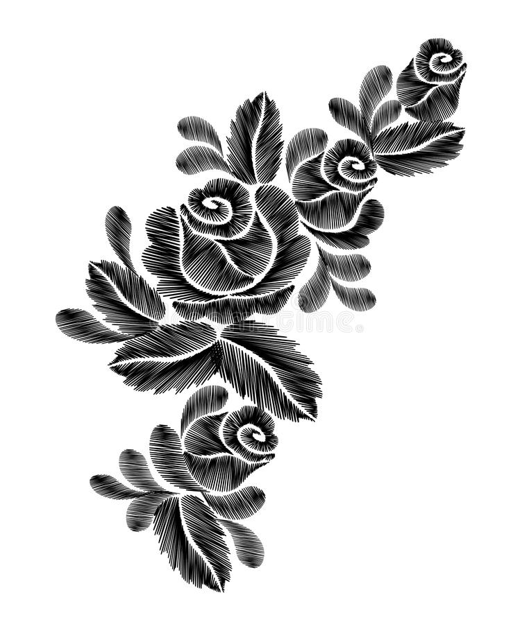 Черная вышивка роз на белой предпосылке этническая линия графики шеи цветков дизайна цветка фасонирует носить иллюстрация вектора