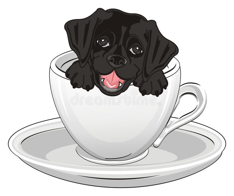 Черная голова щенка в чашке бесплатная иллюстрация