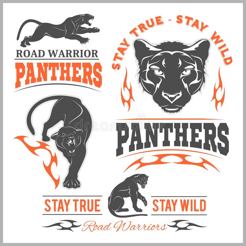 черная головная пантера Символ шаблона модель-макета животные, логотип, эмблема или стикер для клеймить, печатая, спортивная кома иллюстрация штока