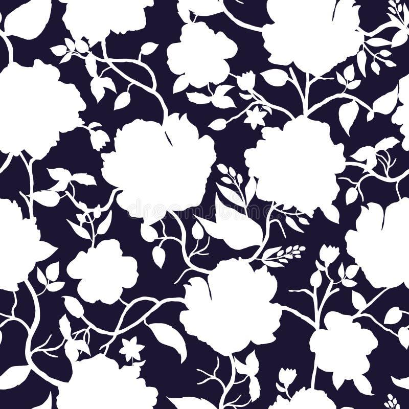 Черная голубая и белая флористическая безшовная картина иллюстрация вектора