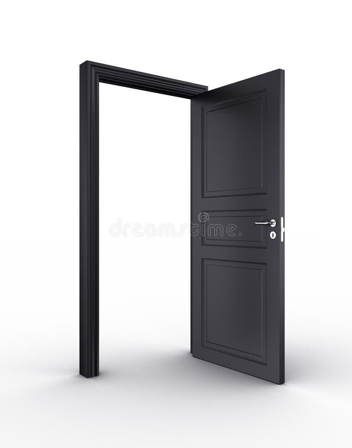 черная дверь открытая иллюстрация штока