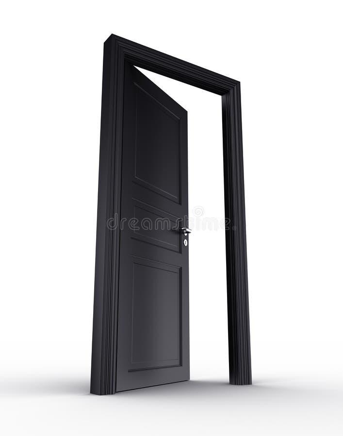 черная дверь открытая иллюстрация вектора