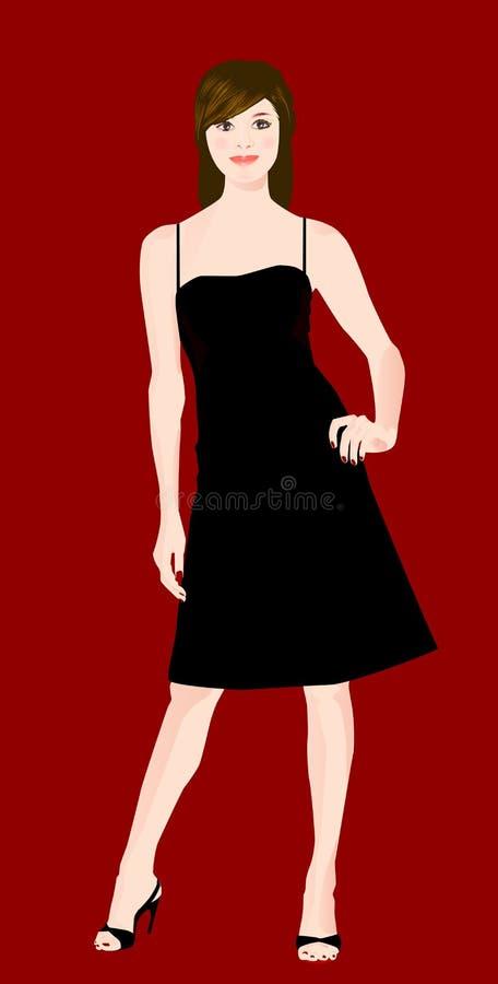 черная девушка платья иллюстрация вектора