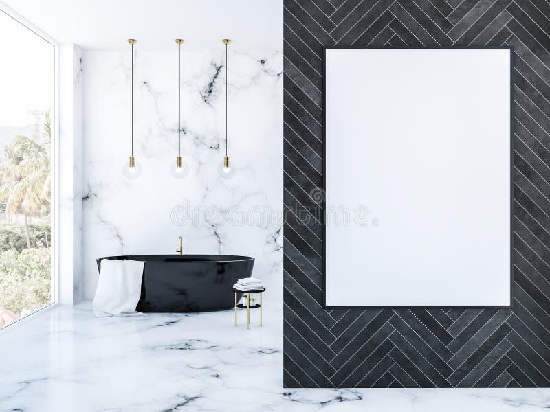 Черная деревянная ванная комната просторной квартиры, черный ушат и плакат иллюстрация штока