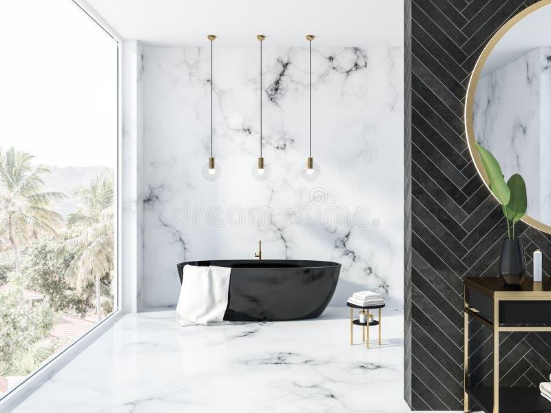 Черная деревянная ванная комната просторной квартиры, черный ушат иллюстрация вектора
