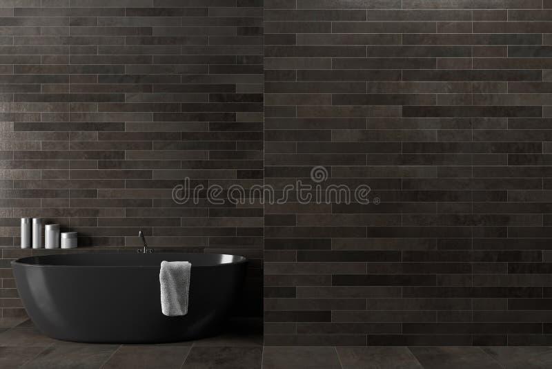 Черная деревянная ванная комната, ушат иллюстрация штока