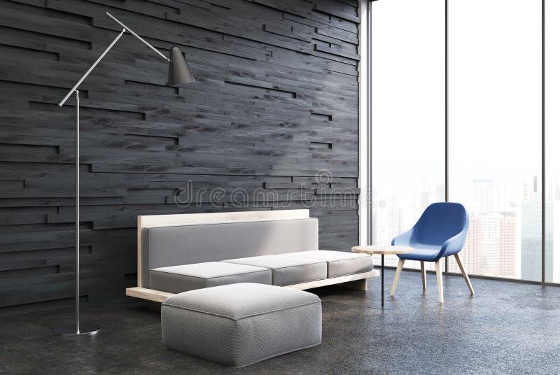 Черная деревянная живущая комната, белая софа иллюстрация штока