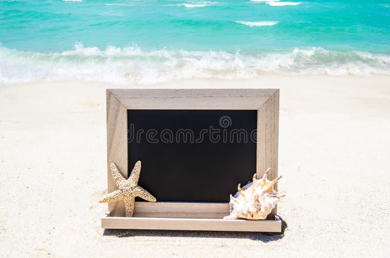 Черная деревянная доска с seashell и морские звёзды на песочном стоковое фото