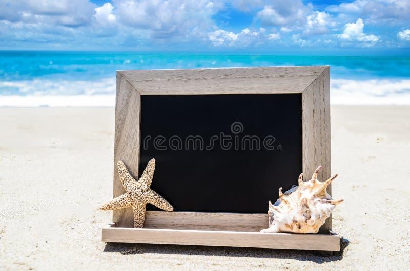 Черная деревянная доска с seashell и морские звёзды на песочном b стоковая фотография
