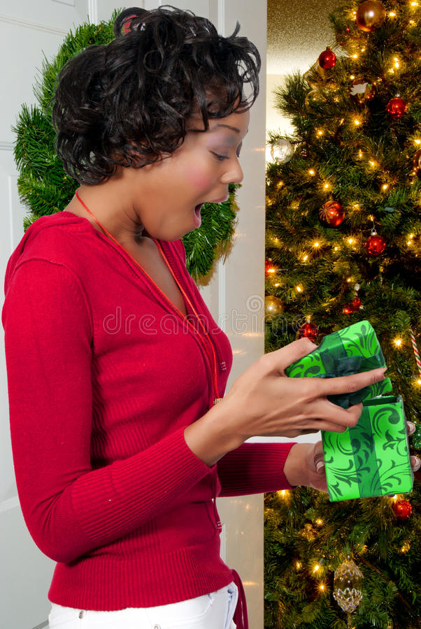 черная женщина орнамента удерживания рождества стоковое изображение rf