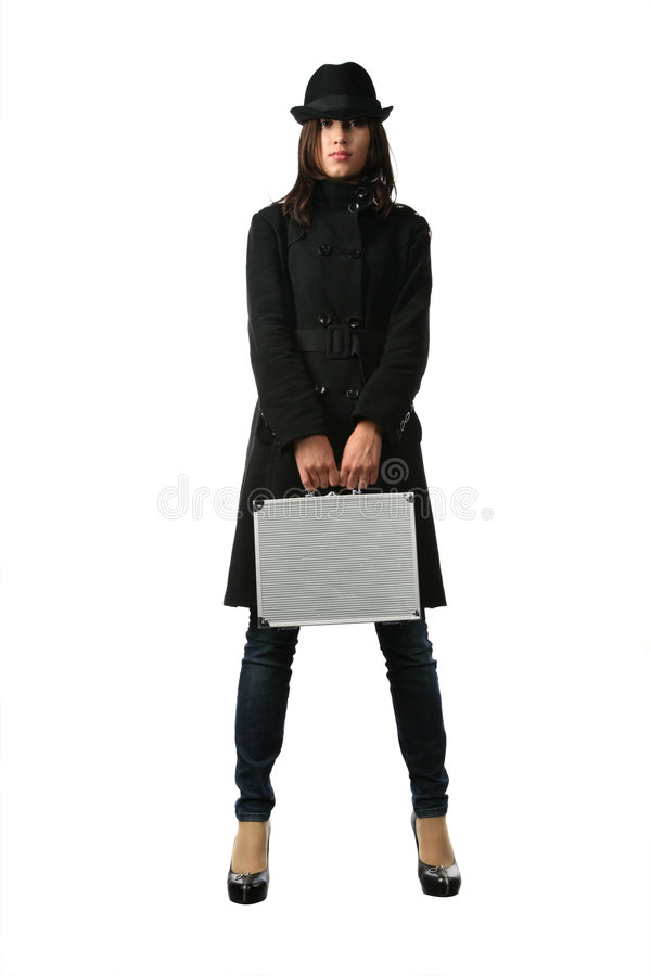 черная женщина портфеля стоковые фотографии rf
