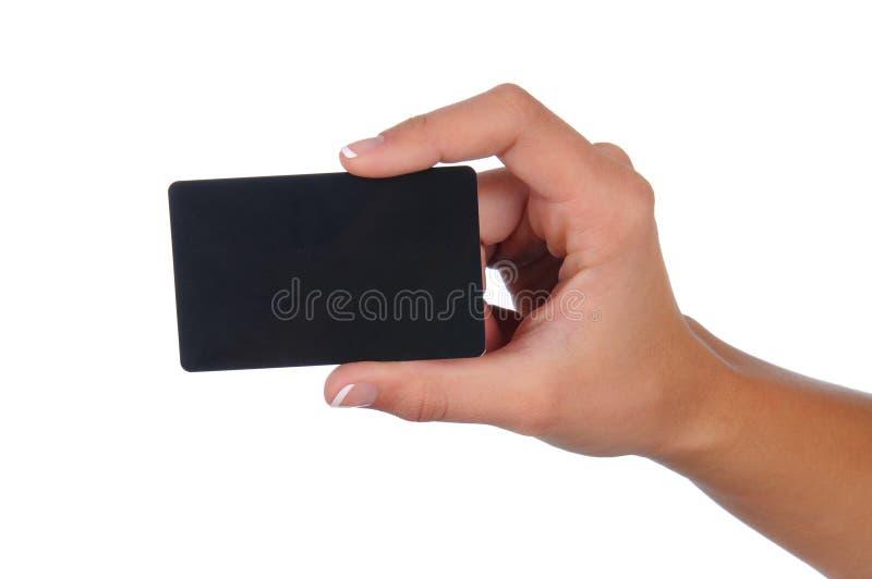 черная женщина удерживания подарка карточки стоковая фотография rf