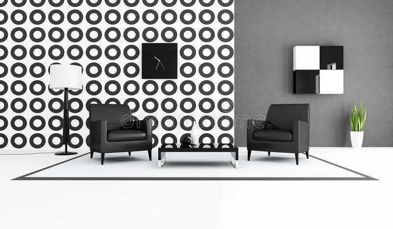 черная живущая белизна комнаты иллюстрация штока