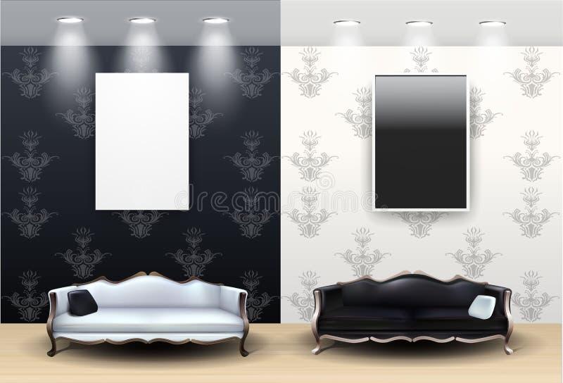 черная живущая белизна комнаты бесплатная иллюстрация