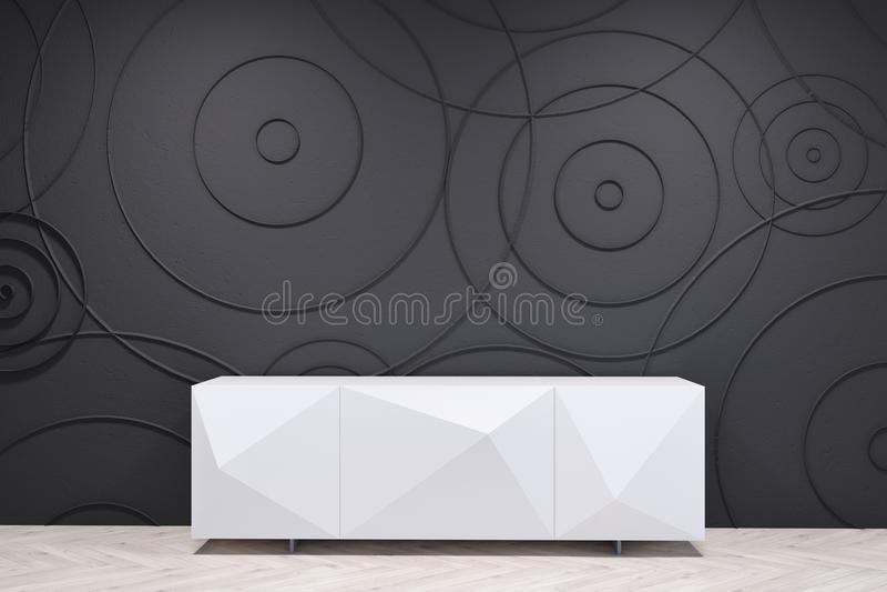 Черная живущая комната с белым шкафом иллюстрация штока