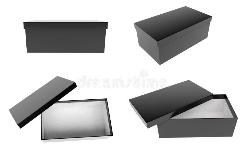 Черная закрытая и открытая коробка ботинка r иллюстрация штока