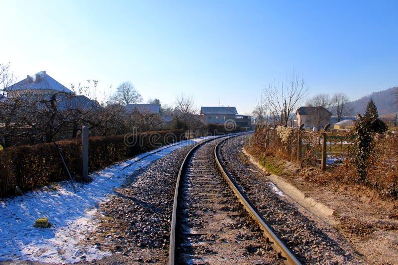 черная зима белизны железнодорожного следа стоковые изображения rf