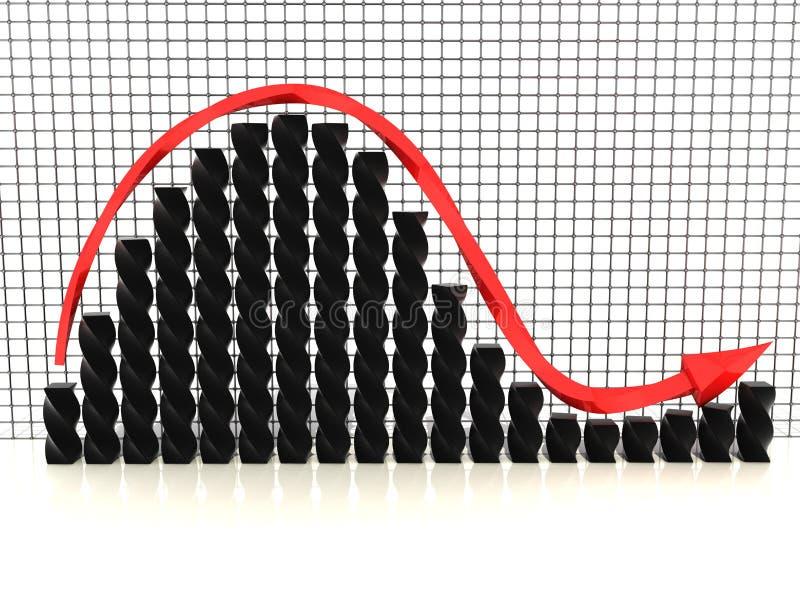 Черная диаграмма с красным arrow№1 иллюстрация штока