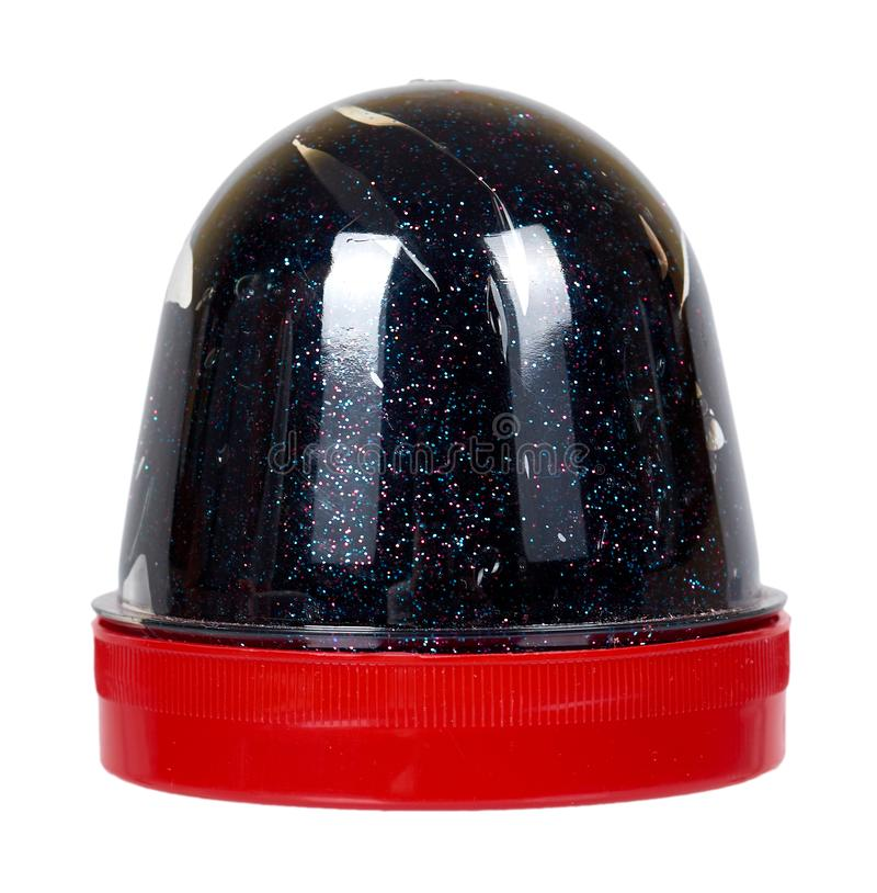 Черная игрушка шлама для детей, ярких блесков и липкой жидкости стоковое изображение rf